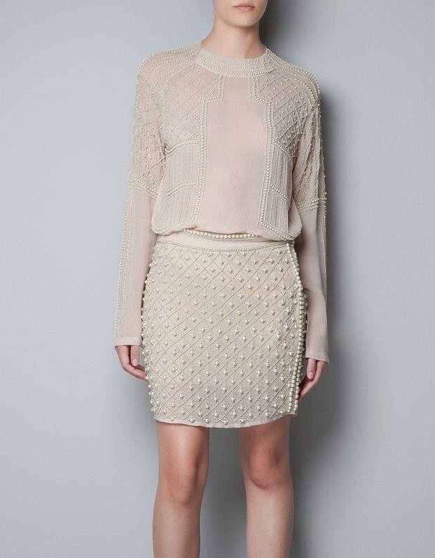 Zara pearl beaded skirt size m