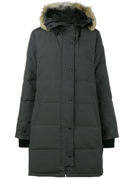canada goose parka fur fox women quilted grey coat