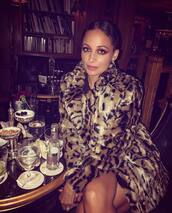 coat,brown coat,nicole richie,celebrity,fur coat,animal print,leopard print