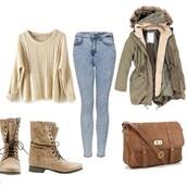 coat,Khaki coat,khaki,parka,faux fur jacket,fur hood,sweater,jeans,bag,shoes