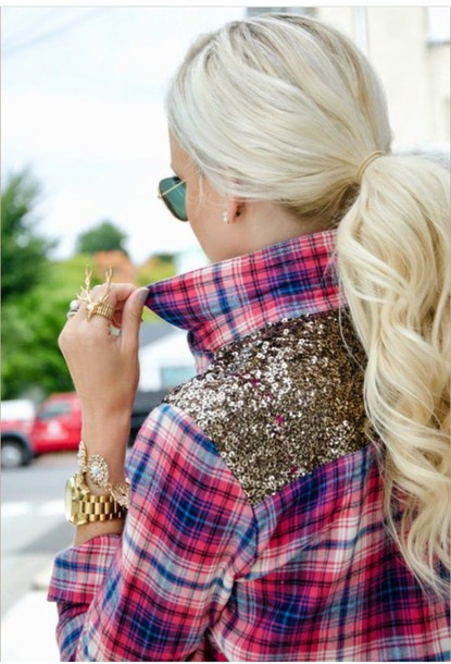 shirt plaid shirt plaid glitter sequence shirt sequence trendy gold jewelry jewelry blonde hair summer shirt trendy style