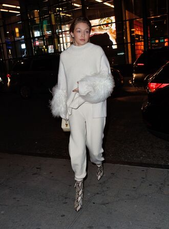 sweater gigi hadid white sweater streetstyle celebrity style shoes boots yeezy pants sally lapointe