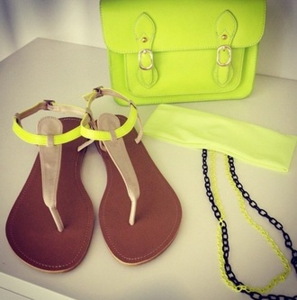 shoes shoe style neon sandals yellow bright brown