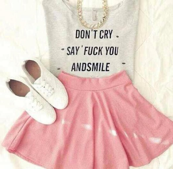 top grey t-shirt grey skirt don't cry smile pink skirt skater skirt