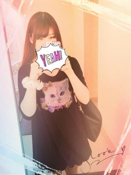 cats t-shirt tommy heavenly long t-shirt dress black japan kawaii japanese