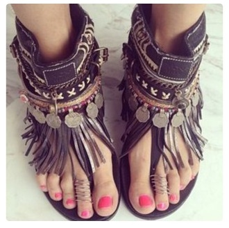 shoes fringe boho hippie summer leather sandals hippie chic