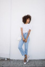 shoes,white shoes,mules,sandals,top,white top,jeans,denim