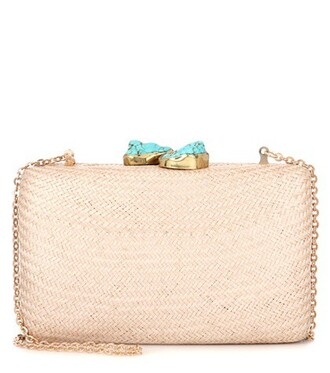 embellished clutch beige bag