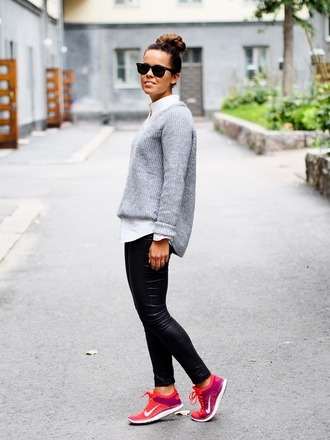 shoes grey sweater leather pants pink nike sneakers blogger
