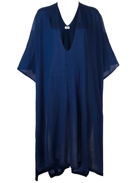 poncho women blue knit top