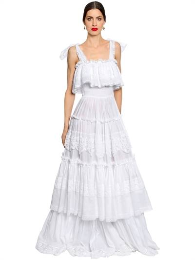 DOLCE & GABBANA, Sicilian lace cotton batiste long dress, White, Luisaviaroma