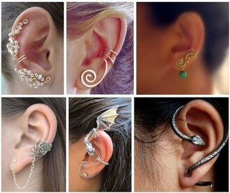 jewels earrings snake ear cuff ear cuff snake dragon gold silver fashion fashion earrings rose flowers pattern swirls