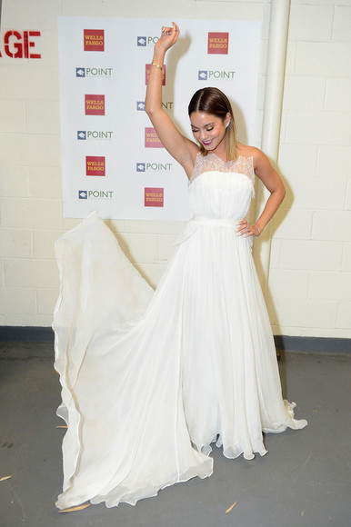 dress maxi dress vanessa hudgens white dress
