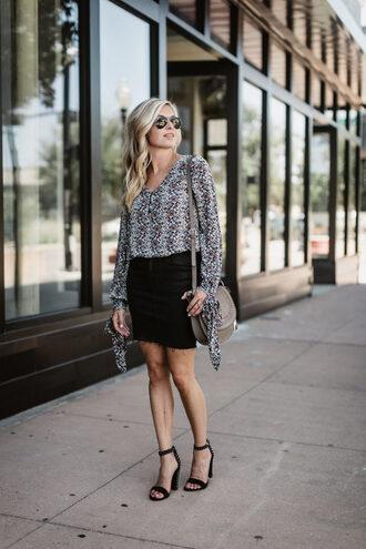 onesmallblonde blogger top skirt shoes shirt jeans sweater shoulder bag sandals high heel sandals black skirt summer outfits