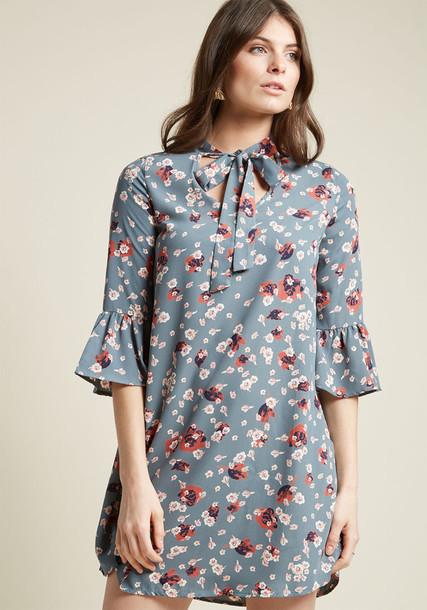 Modcloth dress shift dress bell sleeves blue
