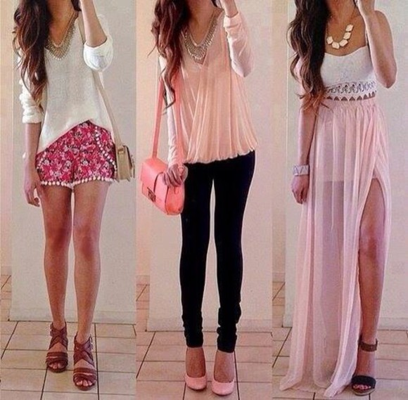 jewels collier t-shirt bag shoes bustier skirt white top bralette corset lace top maxi skirt slit skirt skinny skirt one slit black shoes high heels light pink black pants skinny pants denim pants big bag multicolored mini shorts