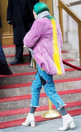 jeans embroidered jeans denim cropped jeans blue jeans cool lilac coat fur coat streetstyle ankle boots white boot boots big fur coat lilac blue hair patched denim frayed denim frayed jeans white boots high heels boots winter outfits