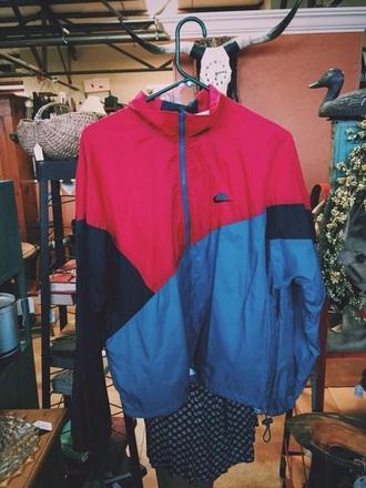 jacket nike vintage red blue windbreaker