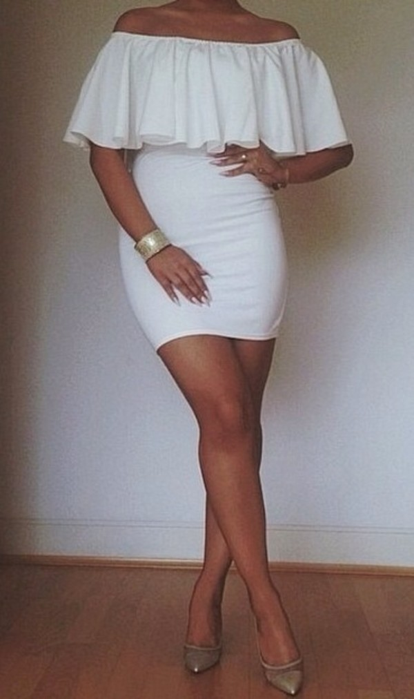 dress bodycon bodycon dress white white dress strapless dress frilly dress