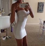 dress,white,bodycon,strapless,heartshaped