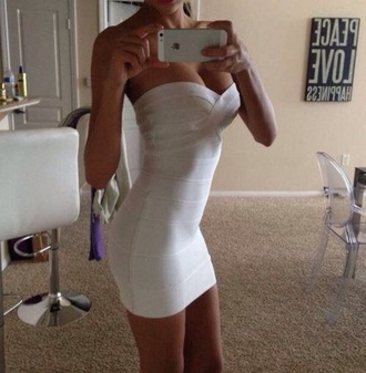 dress white bodycon strapless heartshaped