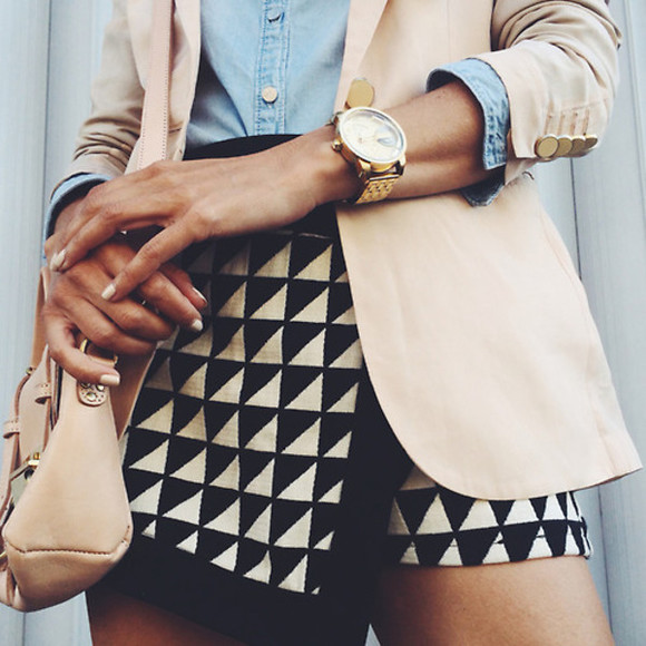 skirt black geometric triangles beige skort pattern clothes