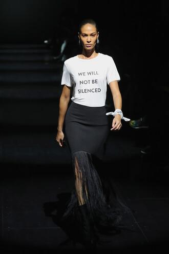 skirt top t-shirt jasmine tookes model runway ny fashion week 2017 fashion week 2017 prabal gurung fringes nyfw 2017