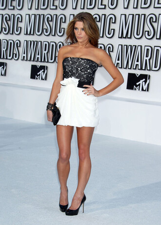 dress black white beaded sparkle ashley greene mtv music awards short mini clutch purse flowers belt heels