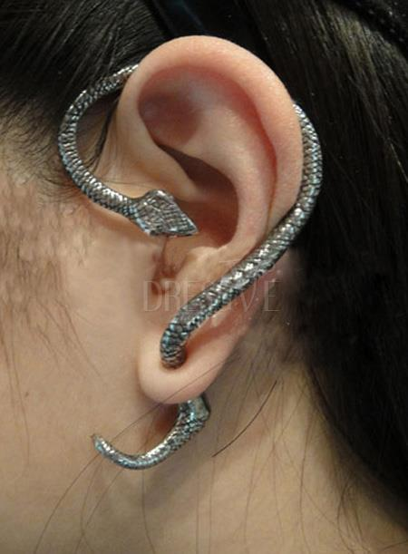 Golden silver luxurious vintage style earring personality punk snake accessory