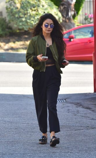 pants top bomber jacket jacket vanessa hudgens sunglasses crop tops spring outfits spring