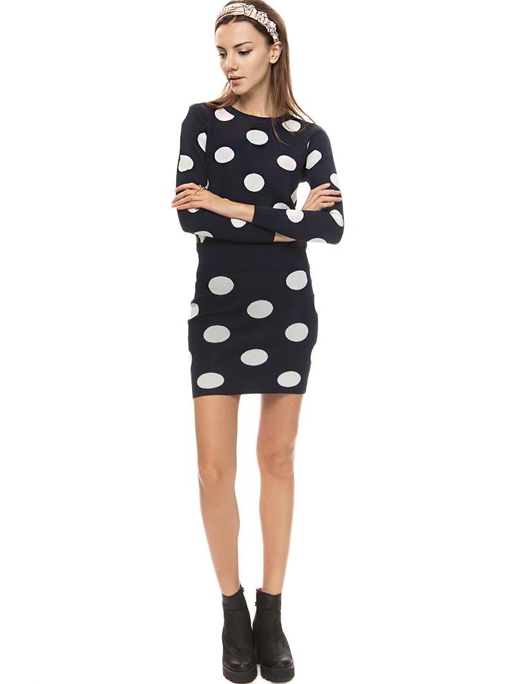 Navy polka dot two piece dress
