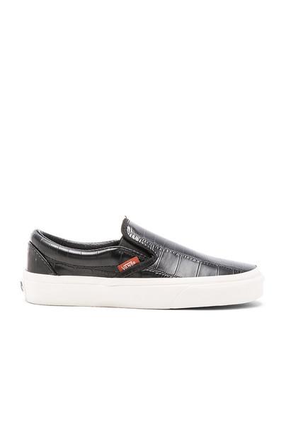 Vans Classic Croc Leather Slip On Sneaker in black
