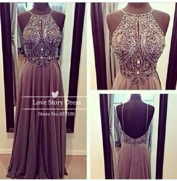 Aliexpress.com : buy sexy beaded crystal open back chiffon wedding party dresses 2014 purple maxi long prom dresses vestido de festa  from reliable dress coctail suppliers on suzhou lovestorydress co. , ltd