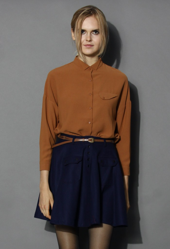 Laidback Soft-touch Camel Top - Retro, Indie and Unique Fashion
