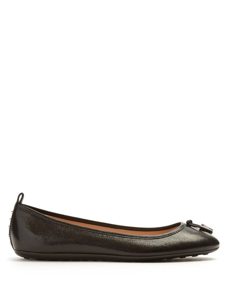 TOD'S ballet flats leather flats leather black shoes