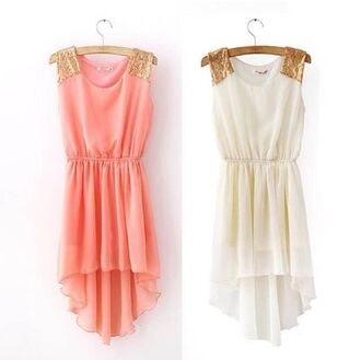 dress cute short clothes maxi dress gold sequins pink white white dress pink dress peach dress gold pretty brands fashion style stylish