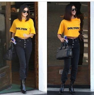 jeans selena gomez streetstyle shirt crop tops