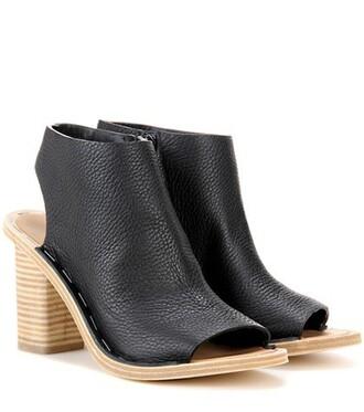 cut-out boots ankle boots cut-out ankle boots leather black shoes