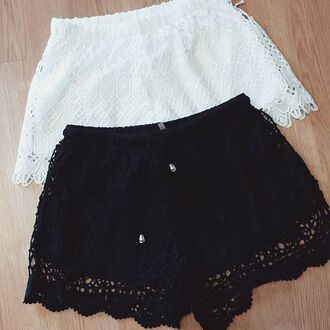 shorts blu pepper lace crochet lace shorts ivory