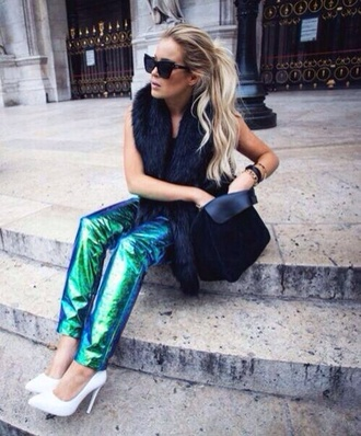 jeans shiny green purple and blue