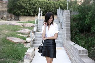 mademoiselle blogger shirt skirt shoes jewels bag