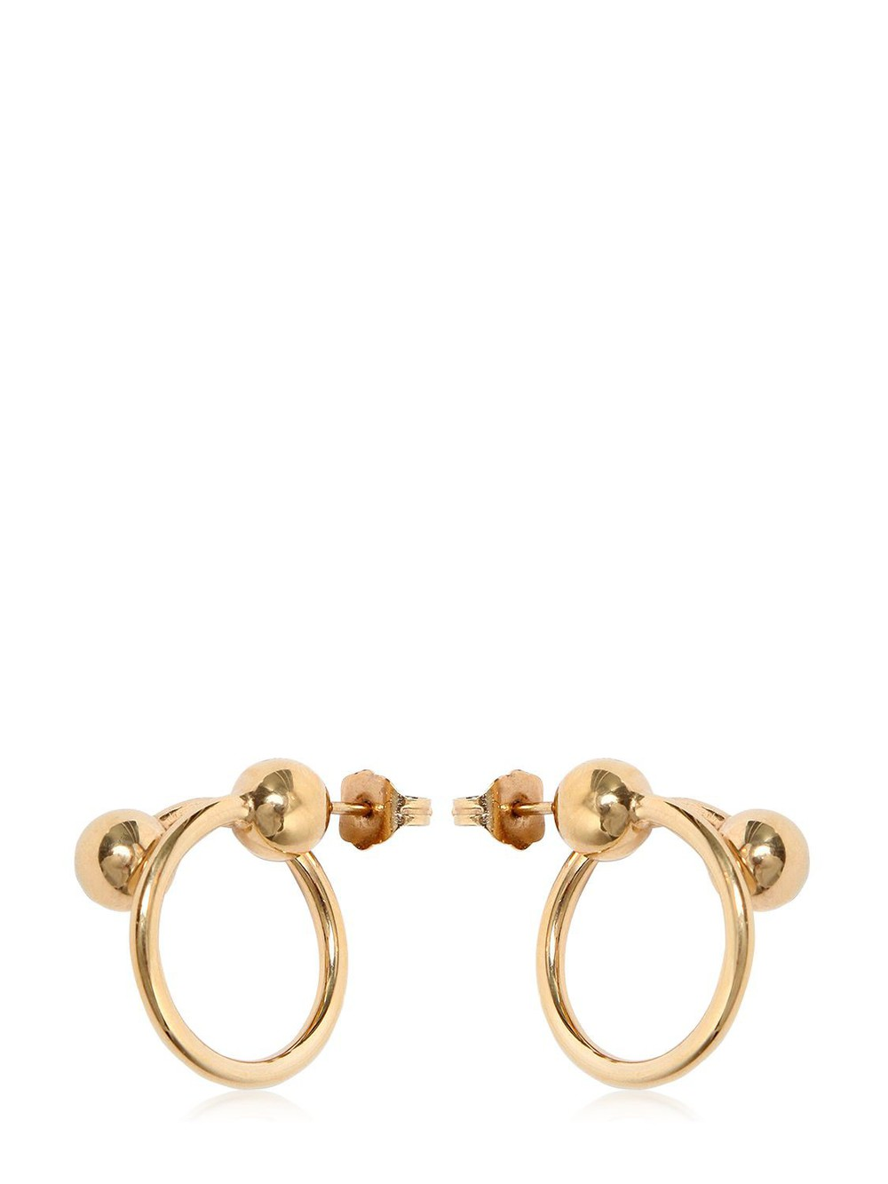 J.W.ANDERSON Double Ball Hoop Earrings in gold