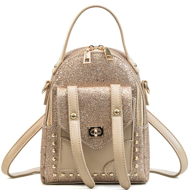 Women's Gold Sparkly Pocket Front Mini Backpack