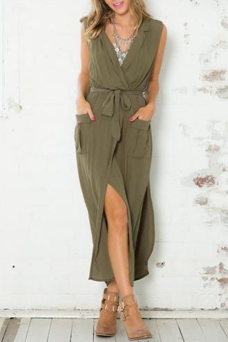 dress zaful green green dress tie dress slit dress long dress fashion hoodie summer style girly alternative sleeveless dress cute