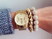 jewels,michael kors,watch,bracelets,sparkle,diamonds,diamond bracelet,studded bracelet,gold,beautiful,girly,beautiful jewels,spiked bracelet,gold  jewels