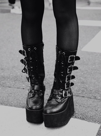 shoes goth punk emo scene grunge goth boots boots platform  boots
