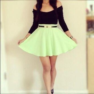 dress black blue pretty mint tumblr dress tumblr summer summer dress green skirt gold belt black top black and green dress