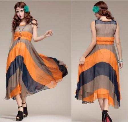 summer new fashion lady's Sexy Orange Pleated Bohemian Striped Summer Celebrit Long Dress   Amazing Shoes UK