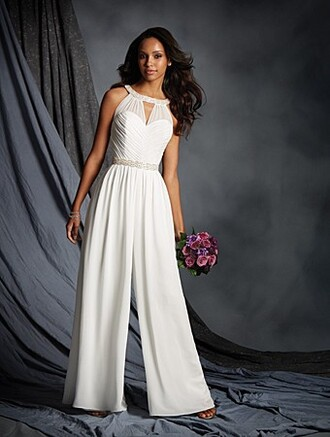 dress special occasion dress jumpsuit wedding dress white wedding clothes white jumpsuit celebrity style romantic