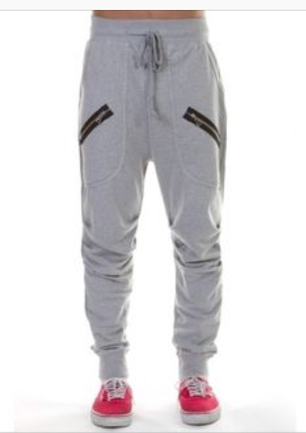 pants gray sweatpants with deep front pockets and zipper